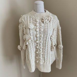 Zara Pom Pom Chunky Knit Cable Fisherman Sweater S